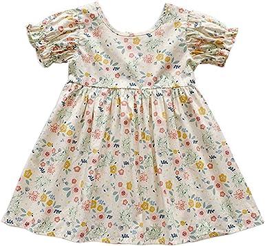 Allskid Bebé Niñas Vestidos Verano Manga Corta O-Cuello Algodón Floral Vestir Girls Dresses: Amazon.es: Ropa y accesorios