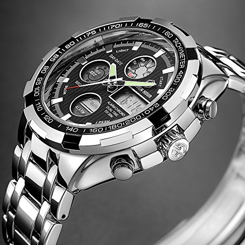 GOLDEN HOUR Luxury Stainless Steel Analog Digital Watches for Men Male Outdoor Sport Waterproof Big Heavy Wristwatch 5