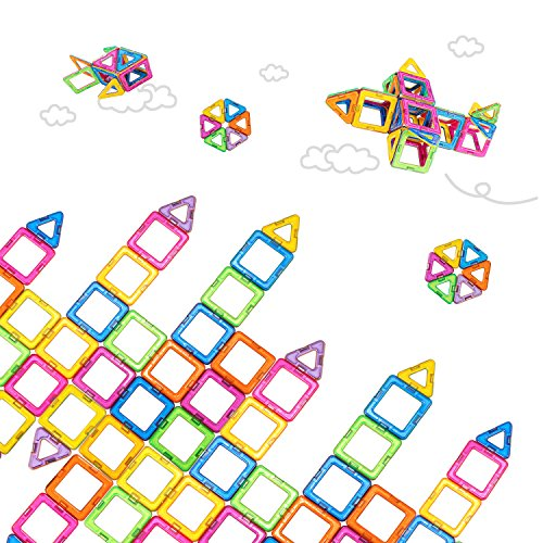 Building Squares (Newisland 40-Pcs Magnetic Blocks Set Kids Magnetic Toys Construction Building Tiles Blocks for Creativity Educational, Come with Container Bag)