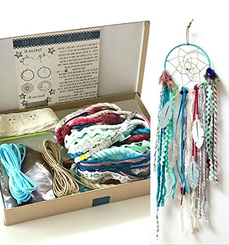 DIY Dream Catcher Kit Birthday Gift Aqua Blue Make Your Own Craft Project Nursery Room Decor from The House Phoenix