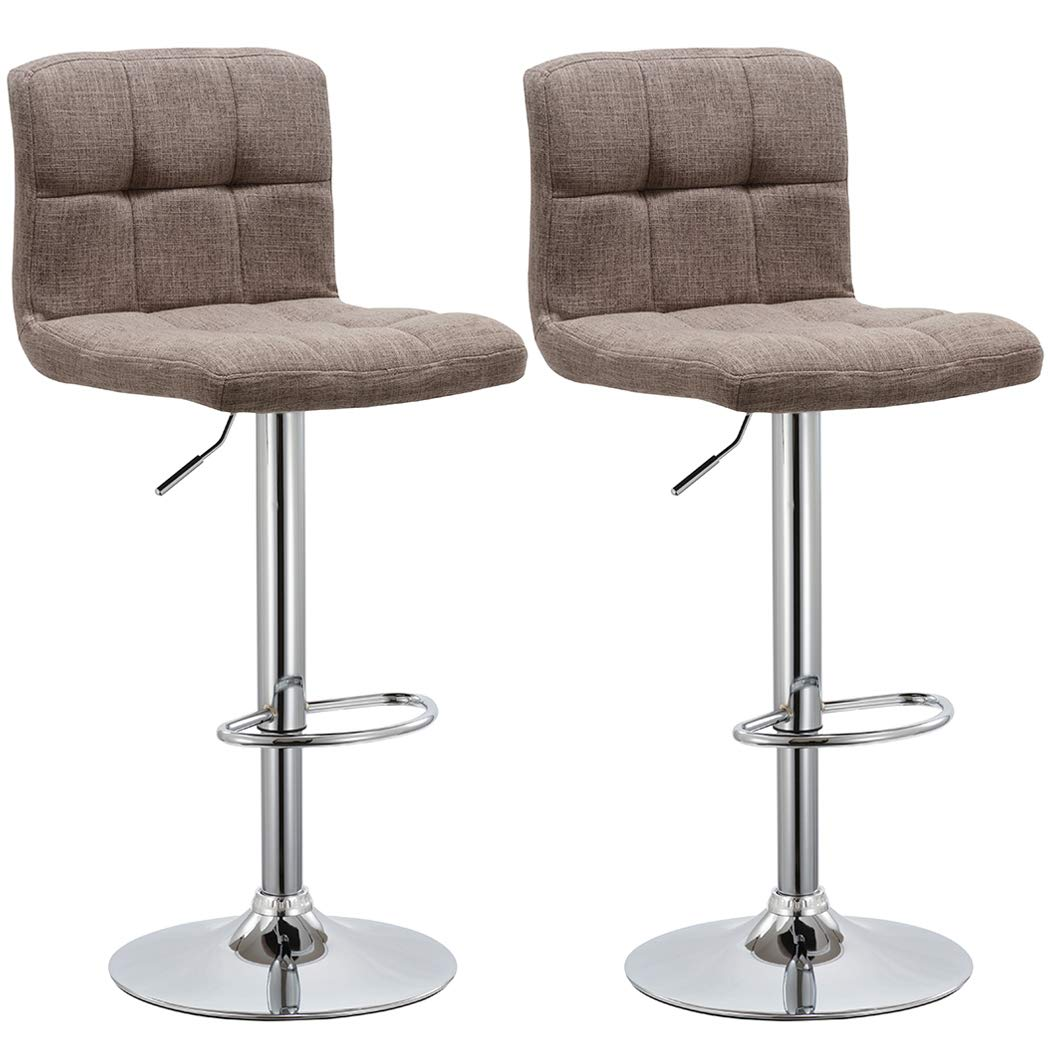 Duhome 2 PCS Fabric Modern Bar Stools Hydraulic Adjustable Swivel Kitchen Counter Height Chair (Brown Fabric) by Duhome Elegant Lifestyle