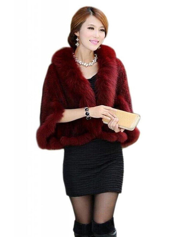 Bafei Women's Natural Mink Fur Knitted Cappa with Fox Fur Collar MEEFUR GR-LJAG-4CTL