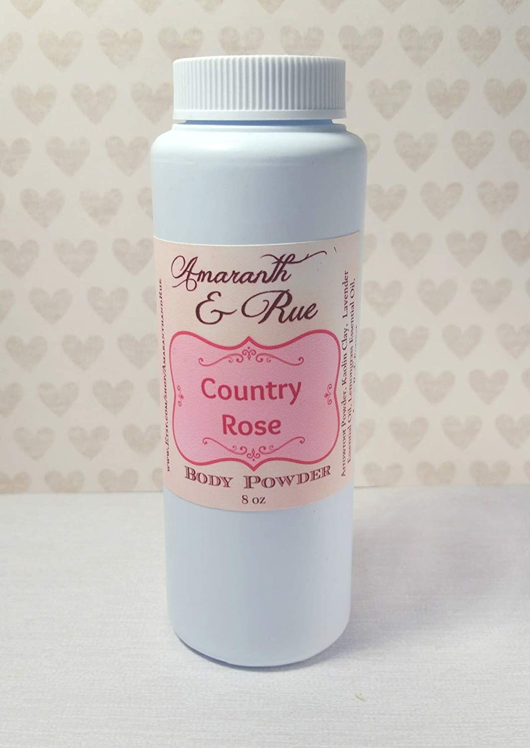 Natural Country Rose Body Powder 8 oz Amaranth & Rue