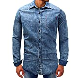 Men's Shirts ,Clearance Sale -Farjing Men Denim Long-Sleeve Beefy Button Basic Solid Blouse Tee Shirt Top (M,Blue )