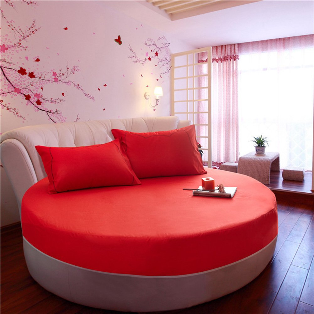 Solid Color 100% Cotton Round Fitted Sheet Bed Cover Mattress Topper 200/220CM Wedding Housewarming Gift?