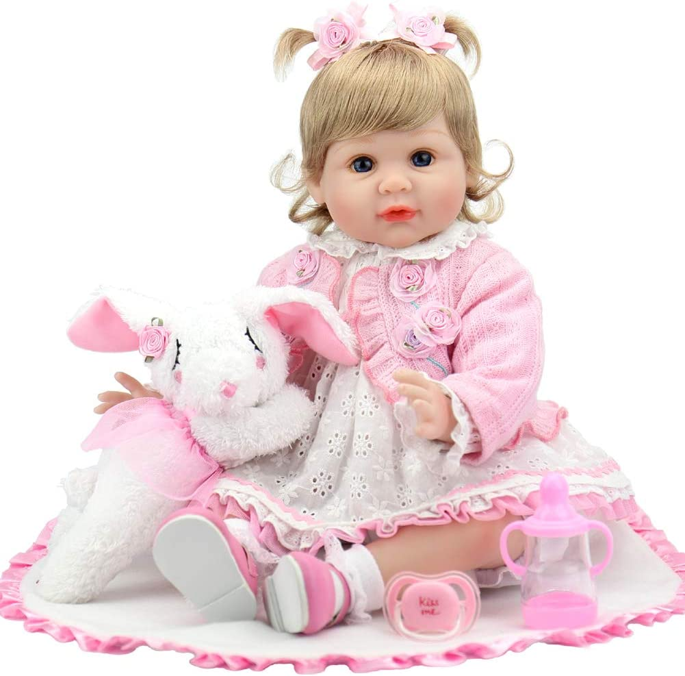 Aori Lifelike Reborn Baby Doll 22 Inch Real Looking Weighted Reborn Girl Doll with Bunny Toy Best Birthday Set for Girls Age 3