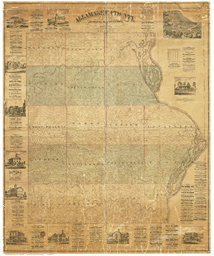 Allamakee County Iowa 1872 - Wall Map with Landowner Names Farm Lines Genealogy - Old Map Reprint