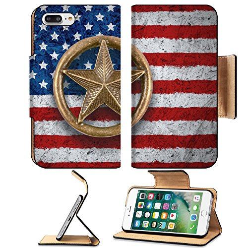 MSD Premium Apple iPhone 7 Plus Flip Pu Leather Wallet Case Bronze star symbol on the flag of the United States background IMAGE 34200089 (Bronze Element Symbol)