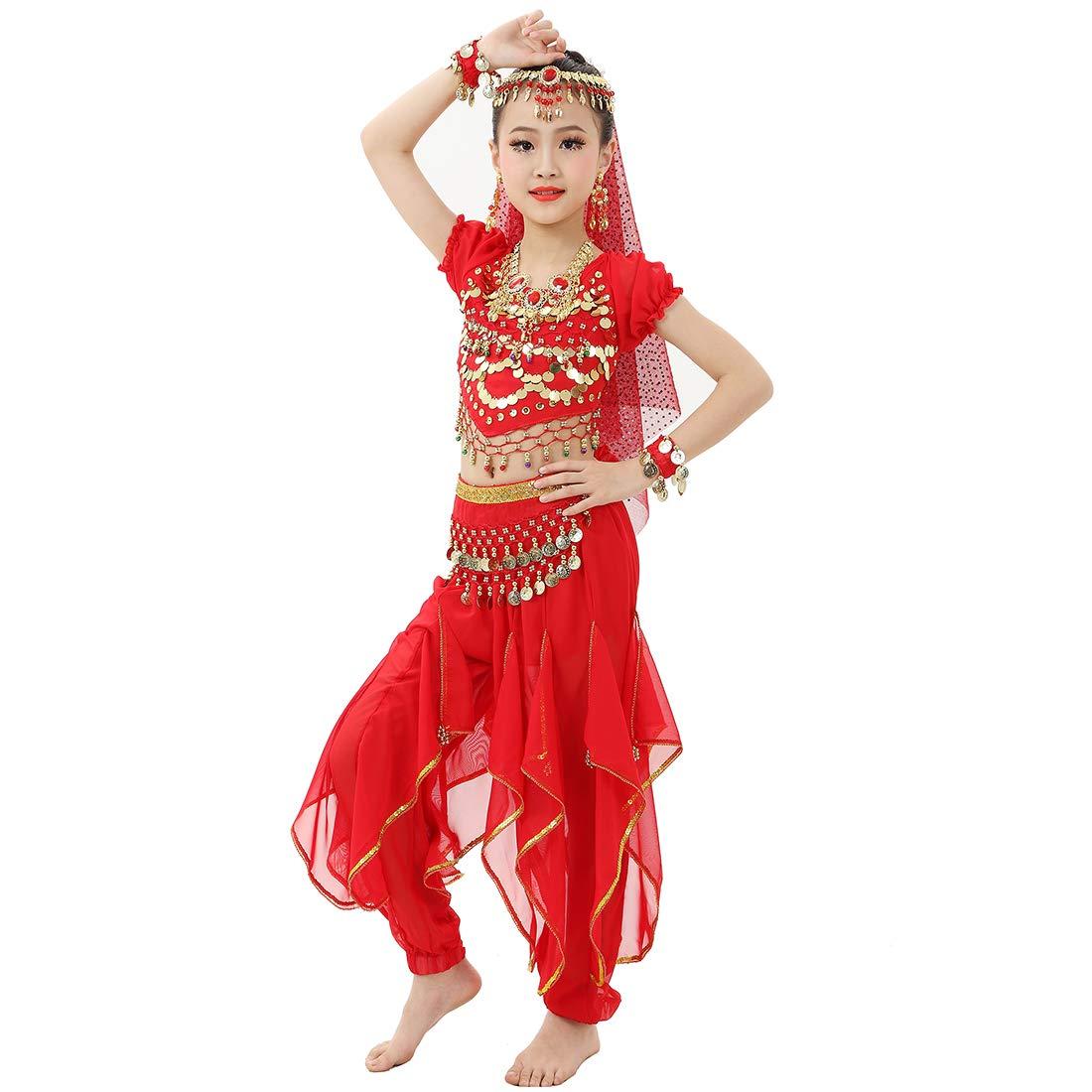 Magogo Mädchen Bauchtanz Kostüm Glänzende Karneval Outfit Party Kostüm, Kinder Prinzessin Arabische Prinzessin Kinder Kleidung Cosplay Dancewear 450f23