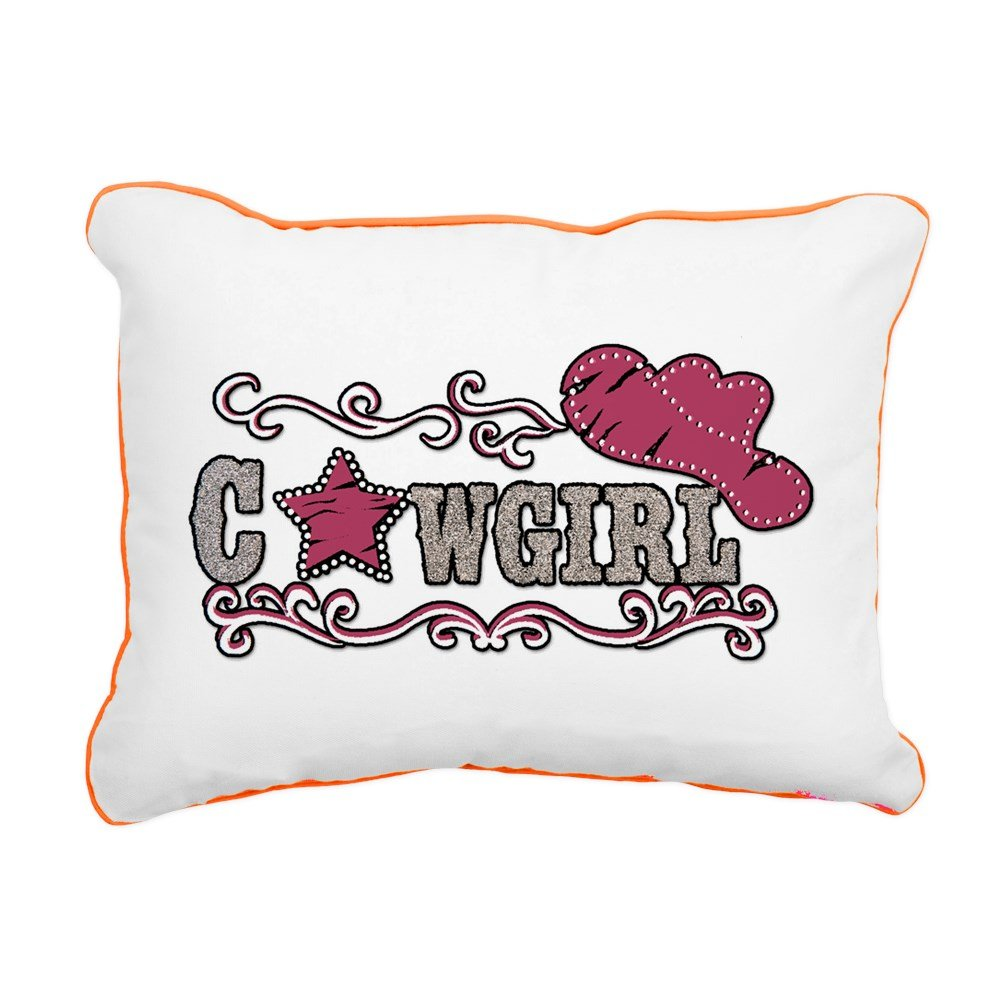 Rectangular Canvas Throw Pillow Orange Cowgirl Country Western Hat and Star