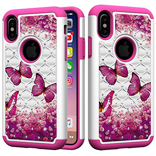 - iPhone XS Case,iPhone X Case, UZER Dual Layer Shockproof Luxury Glitter Sparkle 3D Diamond Bling Rhinestone Painted Series Hard PC+ Soft Silicone Hybrid Impact Defender Case for iPhone XS/iPhone X