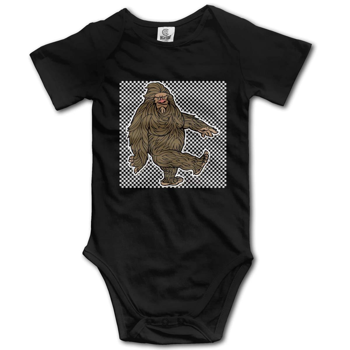 FOECBIR Brown Bigfoot Clipart Infant Boys Girls Jumpsuit Short-Sleeve Romper Bodysuits