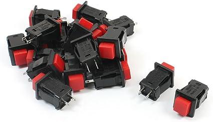 momentané Carré Bouton Poussoir Commutateur 12 mm SPST 2 x rouge Off On