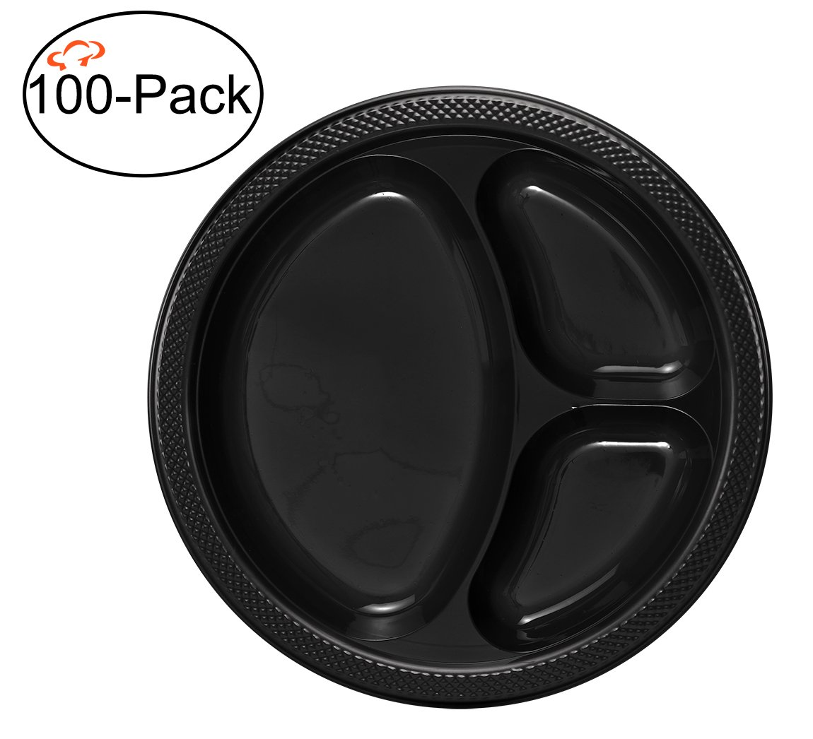 Tiger Chef Round 10 inch Plastic 3 Compartment Divided Plates, 100-Pack, Black, Disposable Dinner Picnic Party Plates Set, BPA-Free