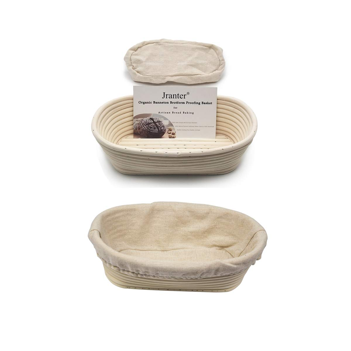 2 Pack of 10 Inch Oval Brotform Banneton Proofing Baskets with Liner Bread Bowl for Baking Dough with Rising Pattern