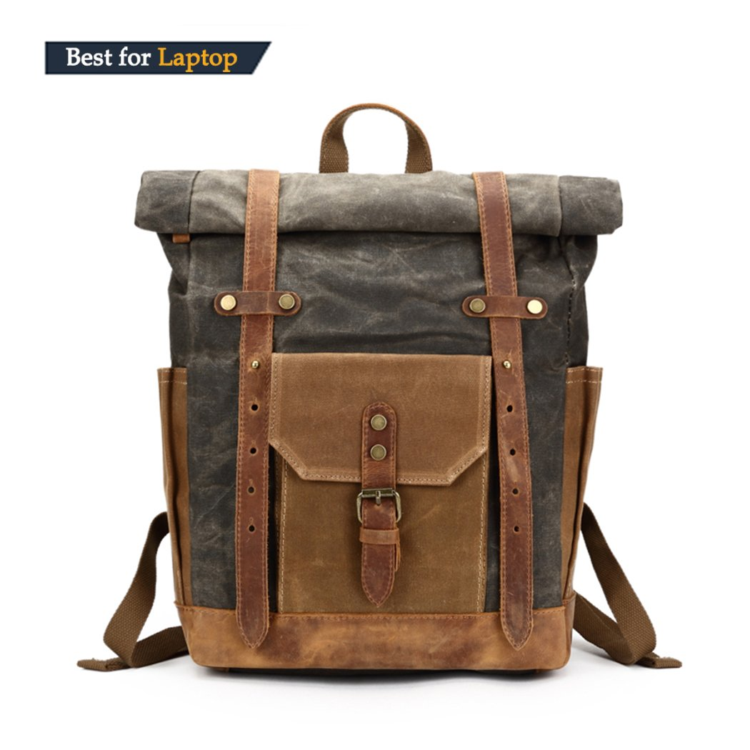 d763ba682b03 Kaukko Bags - Vintage Canvas Rucksack Commuter Backpack Waxed Canvas    Leather Laptop Backpack Work-to-weekend Travel Canvas Backpack