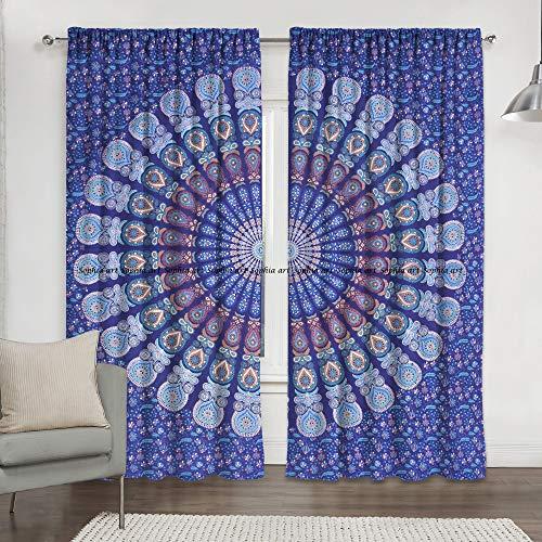 Sophia Art Indian Shower Curtain Living Room Decor Blackout Door Shower Curtain Valance Balcony Sheer Draped Mandala Bohemian Home Decor Window Treatment Two Panel Set