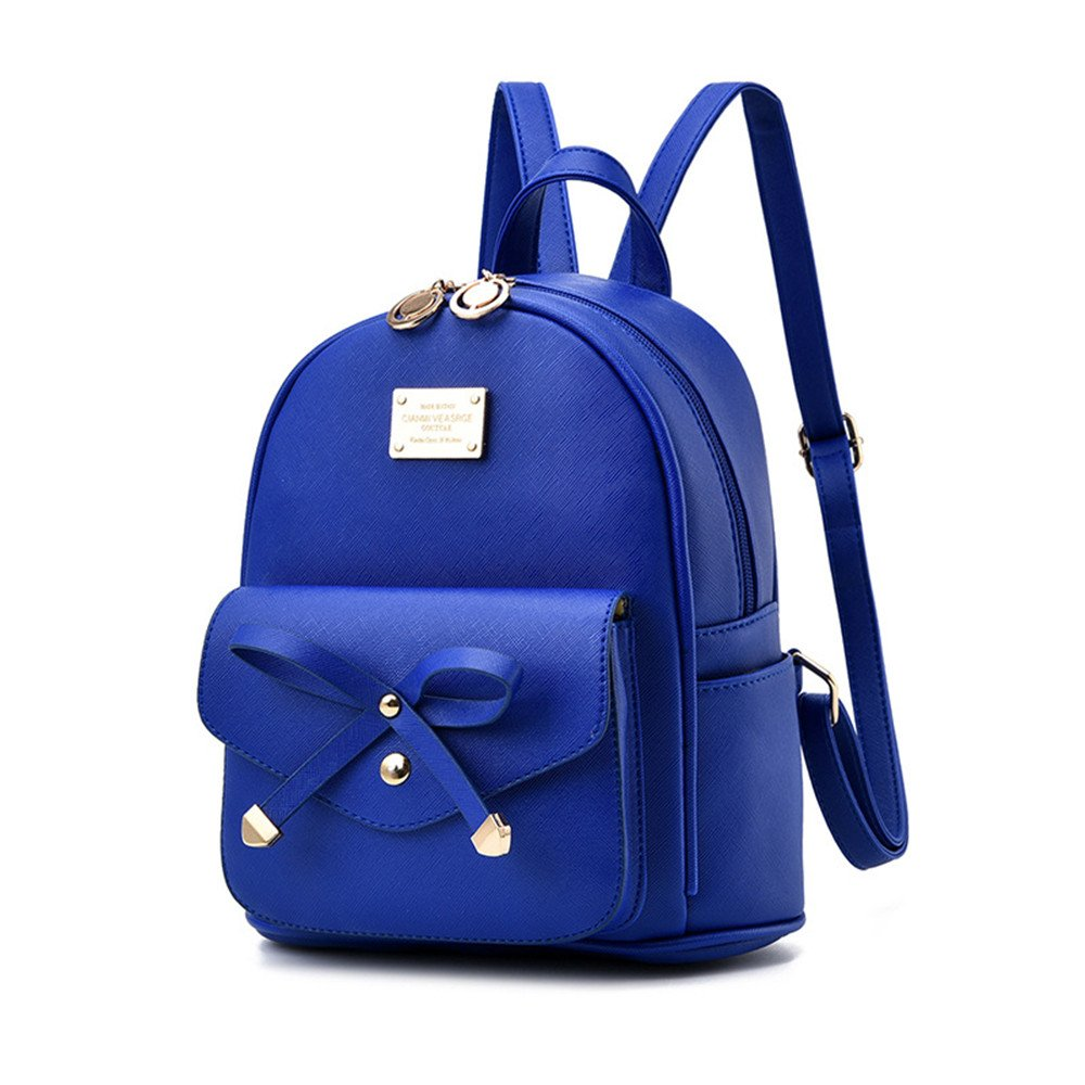 Girl with Bow Cute Leather Backpack Mini Backpack Wallet