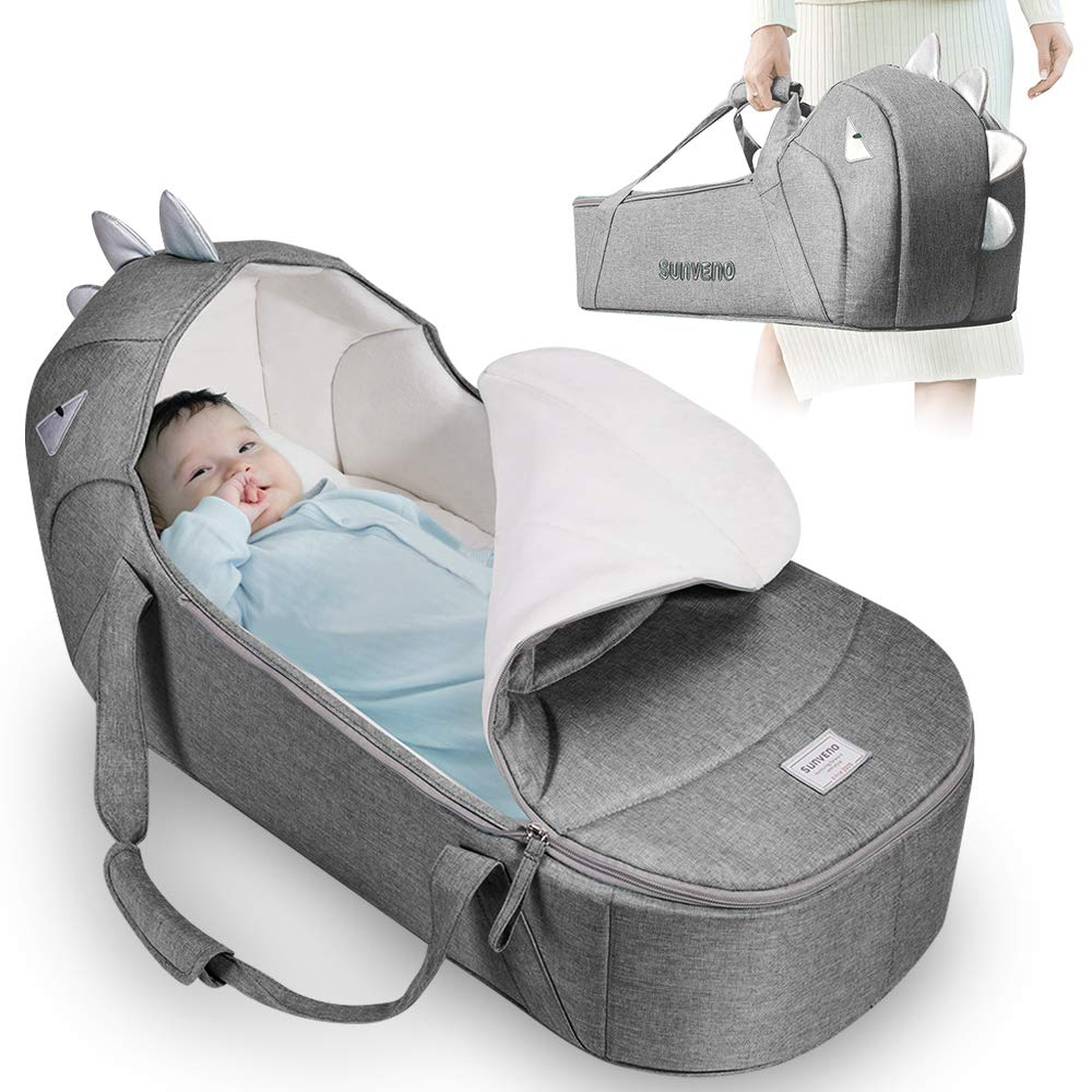 SUNVENO Baby Bed & Baby Lounger, Moses Basket Bassinet Bedside Sleeper Newborn Infant Travel Bed Carrycot for 0-12 Months (Gray)…