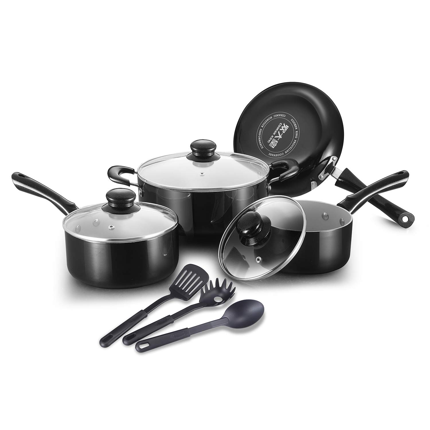 COOKER KING Ceramic Nonstick Cookware Set, Scratch Resistant, Toxin-Free, Dishwasher Safe, Oven Safe, Healthy Ceramic Pots and Pans Set, 10-Piece