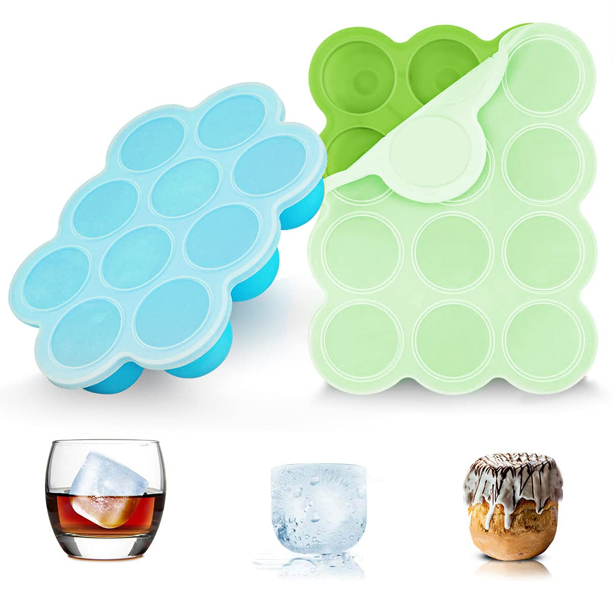 Baby Food Storage Container 2 Packs, 10/12 Hole Silicone Baby Food Freezer Tray with Clip-on Lid , Perfect Food Container for Serving Homemade Healthy Smoothies & Purees(12 Green&10 Blue)