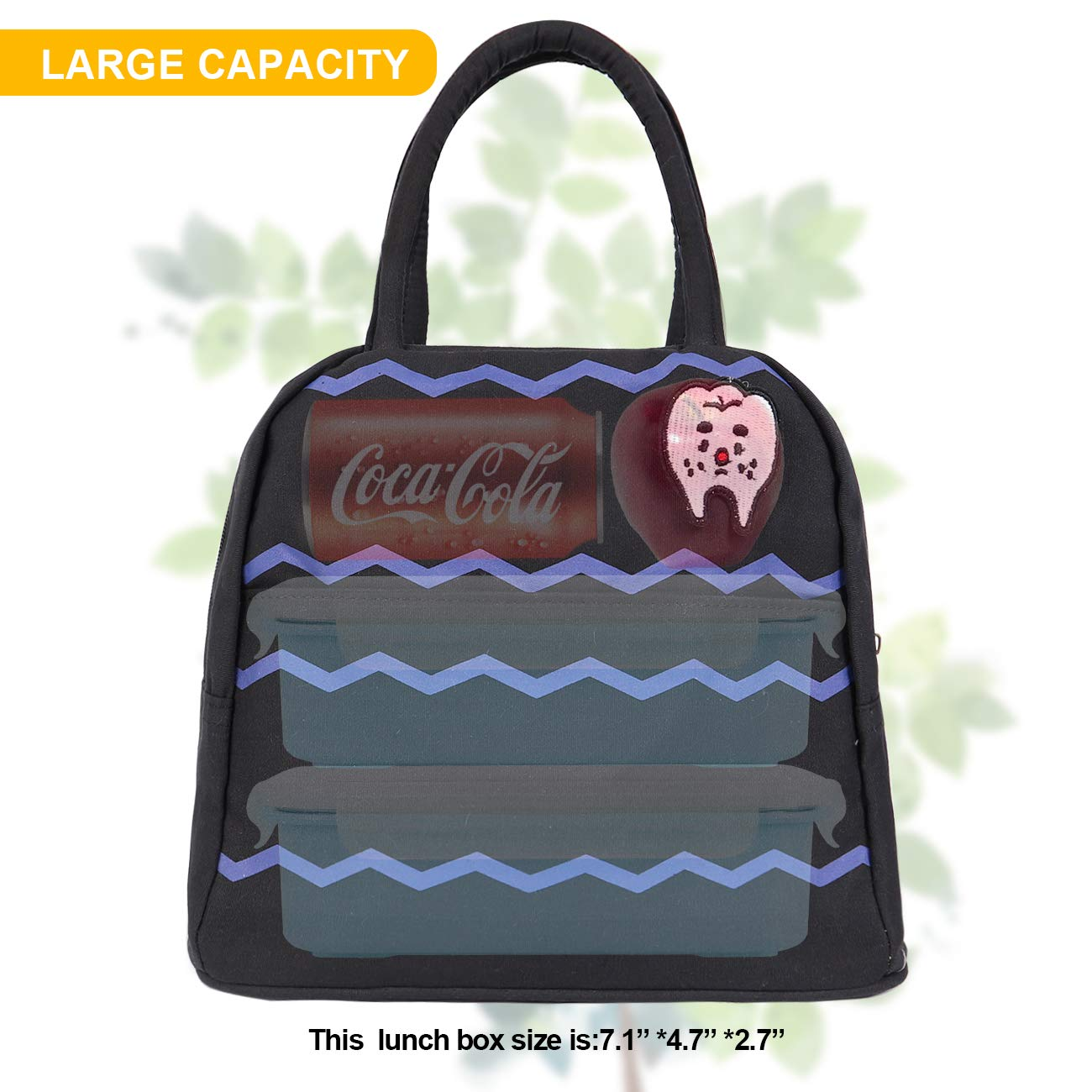 Camping,black cookies HOMESPON Reusable Lunch Bags Printed Canvas Bag Grocery Bag Handbag Insulated Lunch Tote For Women Work Students,Adults To School Shopping Kids