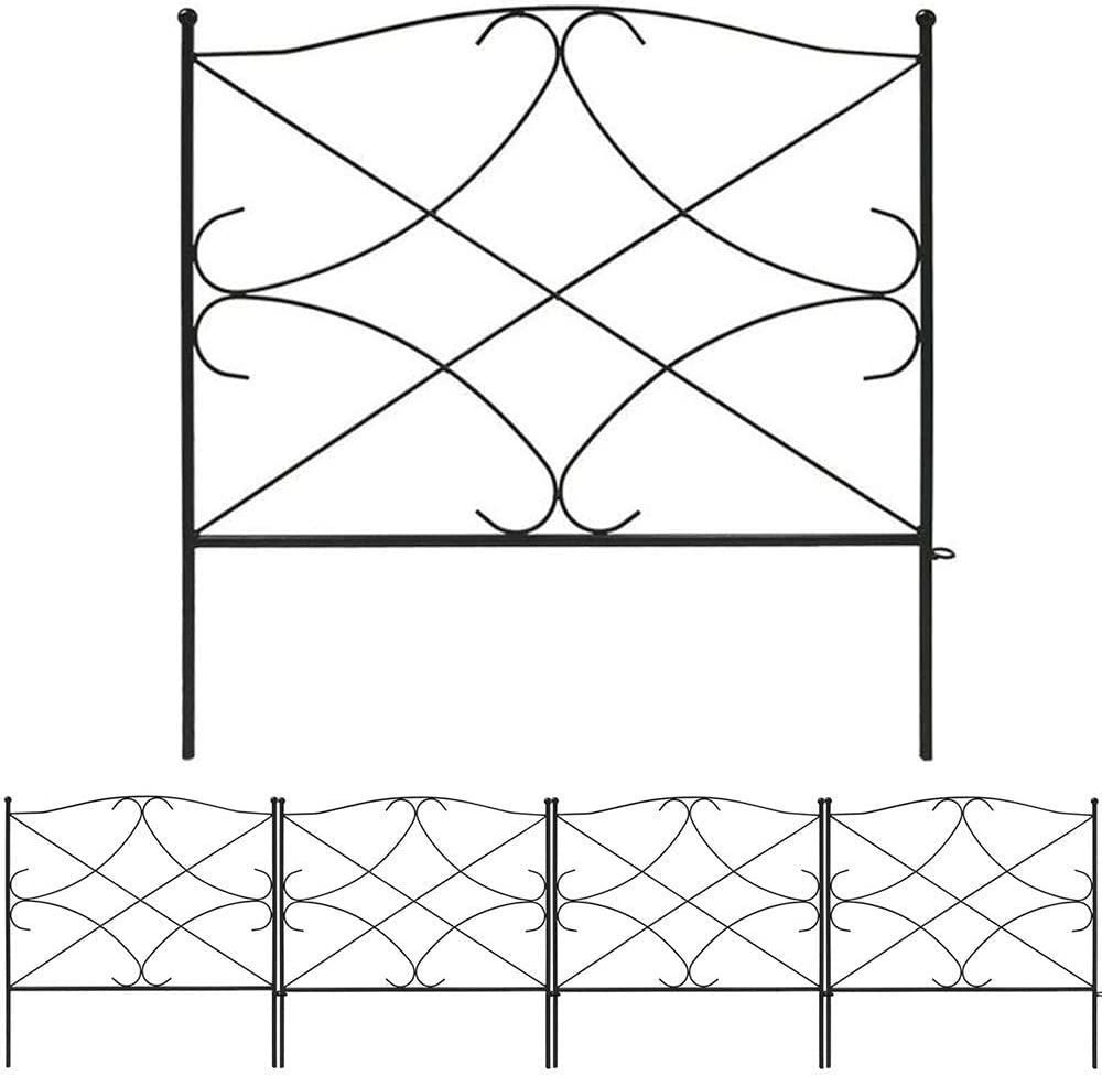 DLCUEL Decorative Garden Fence 18 in x 13 in, Pack of 5, Totally 5.5ft,Black Metal Decorative Wire Square Fencing Border for Dogs Flower Bed Edge Section Outdoor Wire Patio Garden Fence