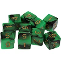 Blesiya Stylish Dual Colored Green/Black D6 Dice for D&D TRPG Game Supplies 10pcs