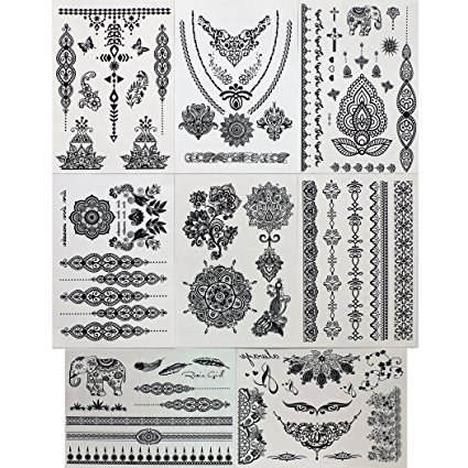 GIFT!! New Tastto 8 Sheets Henna Body Paints Temporary Tattoos Black Lace Stickers for Girls and Women with - Tattoos Temporary Pride
