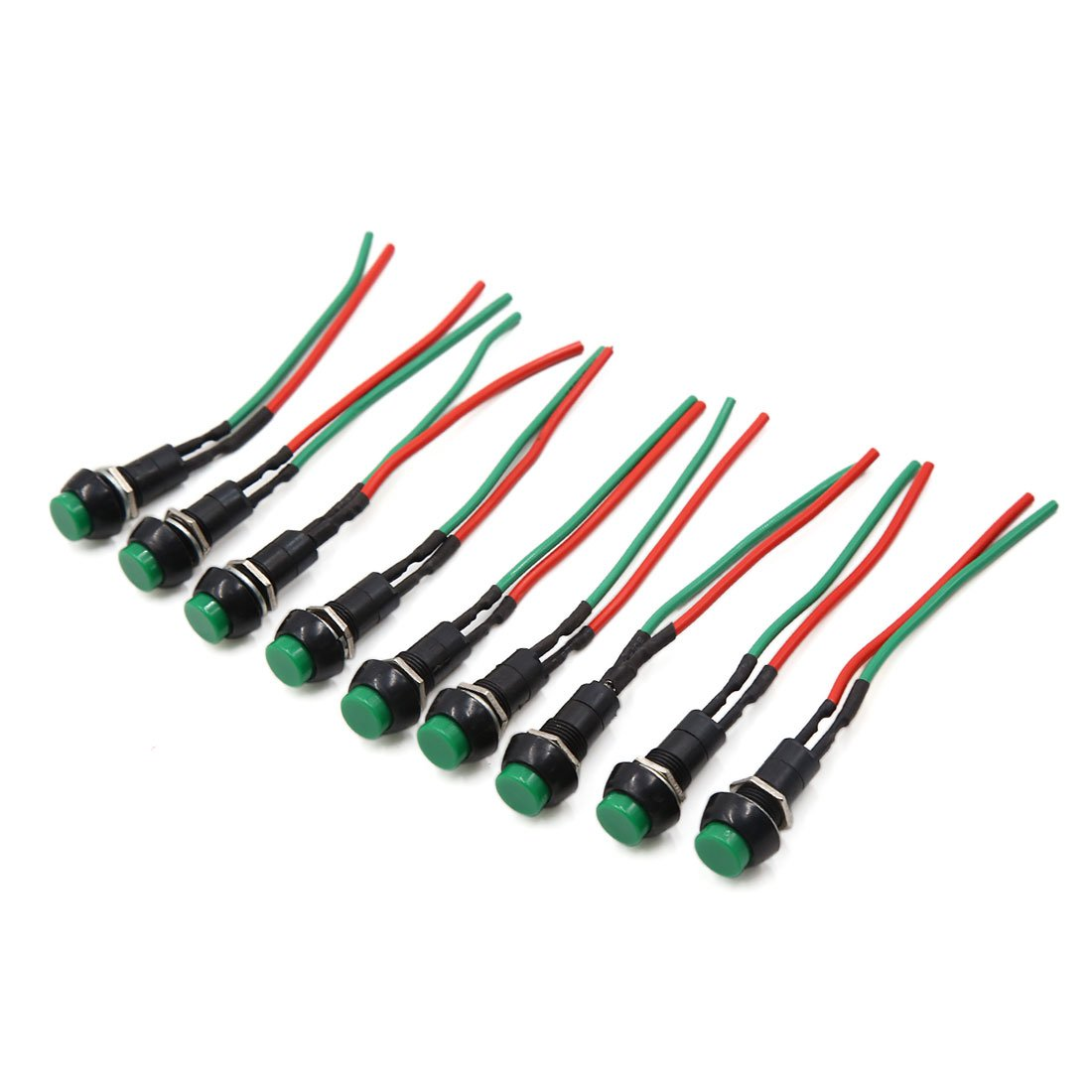 uxcell 10 Pcs DC 12-24V Round Shaped Wired Horn Momentary Push Button Switch for Car Vehicle