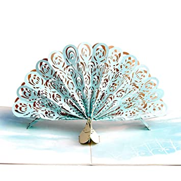 Paper Spiritz Pop Up Halloween Card Color Printing Peacock Birthday For Son Wife Husband Thanksgiving