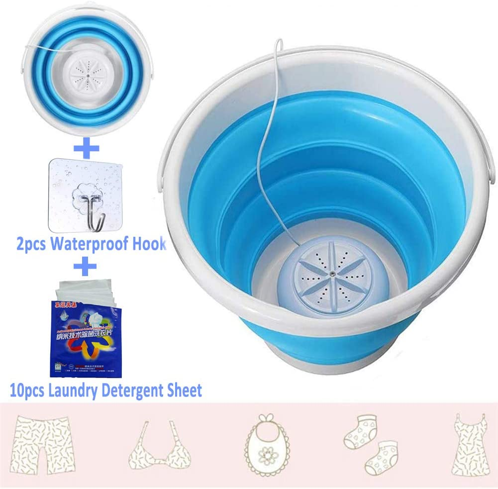 Portable Washer Mini Turbo Washing Machine with Ultrasonic Turbine Lightweight Travel Laundry Washer,USB Powered Camping Apartments Dorms Trip,Clothes Underwear Small-scale Cleaning Machine Blue