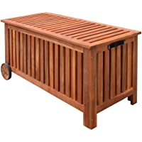 Festnight Wood Outdoor Storage Bench With 2 Wheels Garden Deck Box  Container Multifunctional Patio Seat Furniture