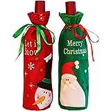 Asien Cubierta de la Botella de Vino Navidad, 2pcs Botella de Vino de Navidad Cubiertas