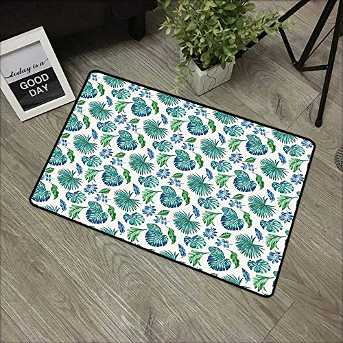 - Learning pad W19 x L31 INCH Green Leaf,Monstera Coconut Palm Tree Leaves Exotic Rainforest Foliage Eco,Turquoise Green Navy Blue Natural dye printing to protect your baby's skin Non-slip Door Mat Carp