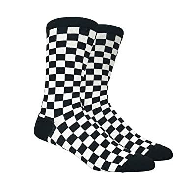 Mens Black And White Checkered Socks Shoe Size 6 12 At Amazon