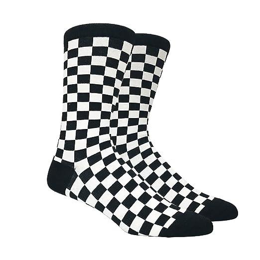 men s black and white checkered socks shoe size 6 12 at amazon