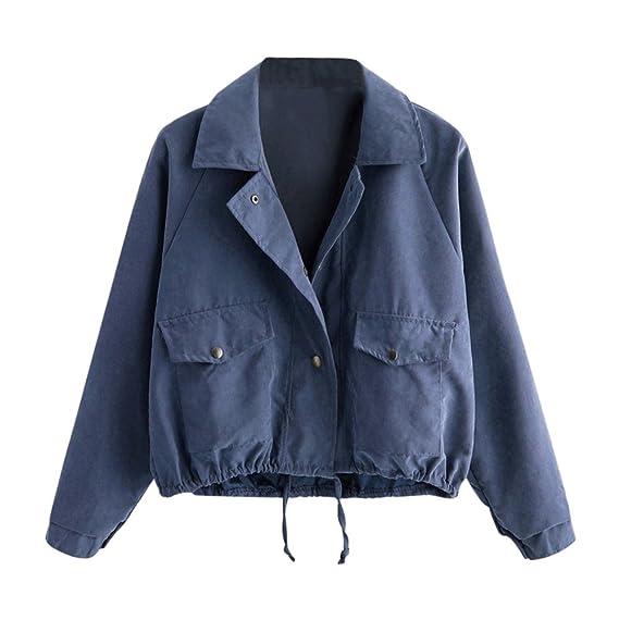 check out 1f0a4 38bce FRAUIT Pocket Jacke Damen Herbst Winter Frauen Knopf Kurze ...