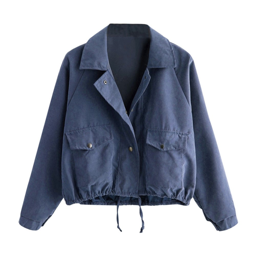 VANSOON Womens Tops Long Sleeve Fashion Short Button Outwear Pocket Jacket Cardigan Tunic Coats Sweater