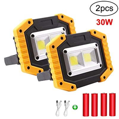 Portable Floodlight, 30W Rechargeable LED Work Light Floodlight Outdoor Floodlight Camping Lights with USB Waterproof for Outdoor Camping Travel Fishing Safety Lights (2)