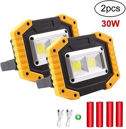Linterna al Aire Libre Para la Reparaci/ón de Autom/óviles Luces de Seguridad de Emergencia Focos de exterior Port/átil 30W USB 3 Modos Luz de Trabajo LED Recargable