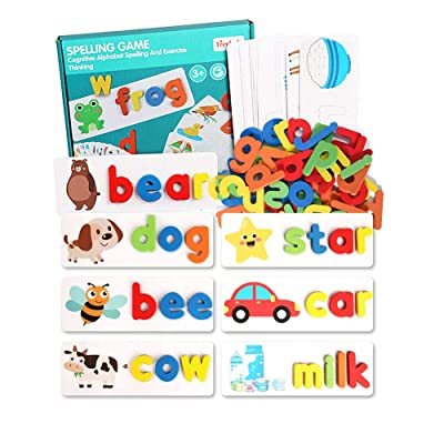JUGROUPE Alphabet Flash Cards Set, ABC Wooden Letters and Animal Cardboard Matching Puzzle, Montessori Preschool Educational Toy for Toddlers Kids Children 3+ Years Old, Great Gifts for Girls and Boys: Toys & Games