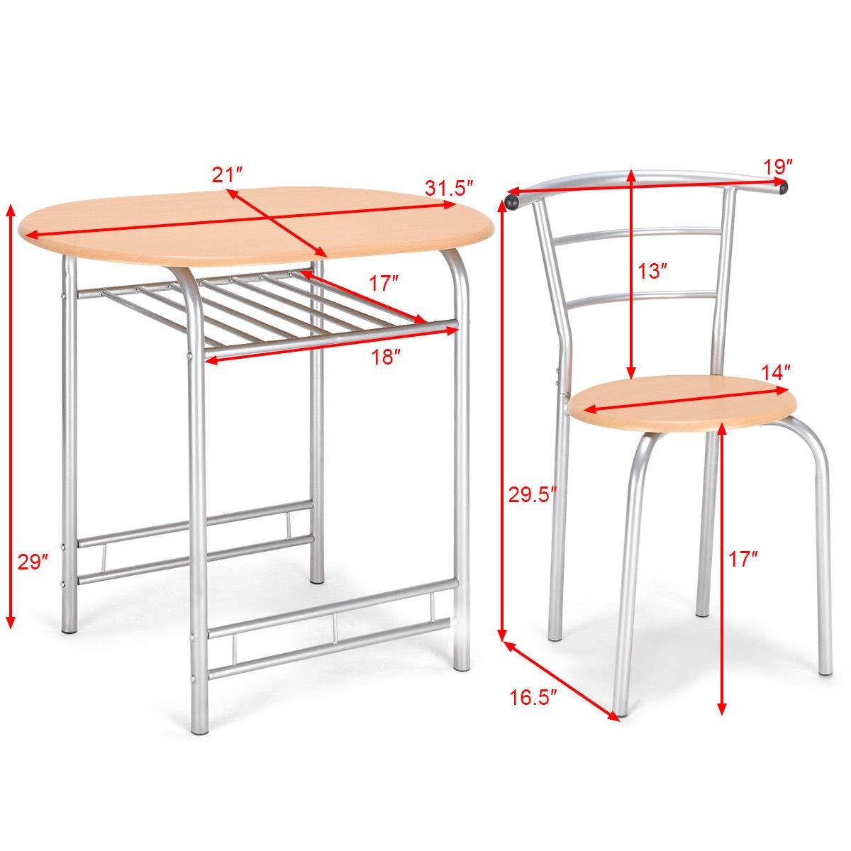 Amazon.com: Juego de 3 sillones de acero ovalados de madera ...