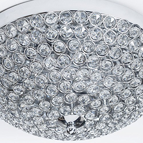 GLANZHAUS Modern Design 11.8 Inches Small Clear Crystal Beads Bowl Shaped Chrome Finish Base Chandelier Crystal Ceiling Light, Flush Mount Ceiling Light Suitable For Bedroom Living Room Hallway by GLANZHAUS (Image #5)