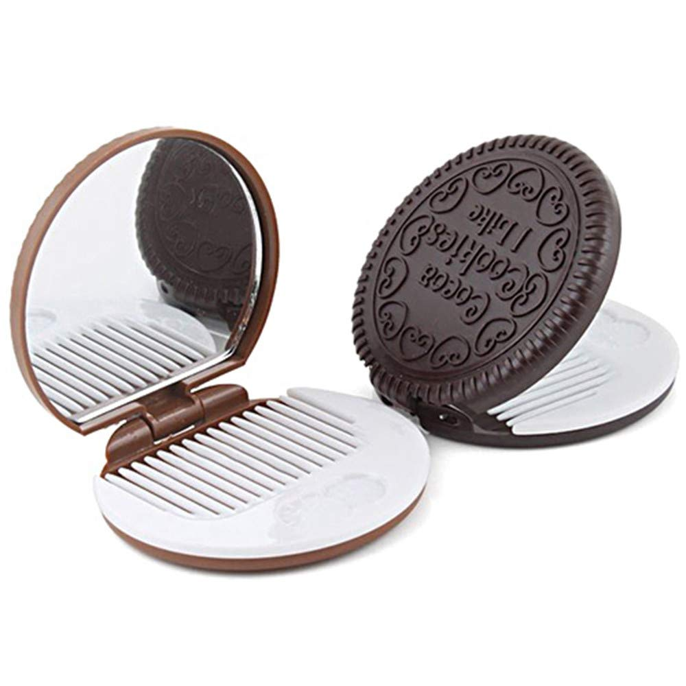 Lomsarsh New Mini Pocket Cute Creative Chocolate Cookie Biscuits Compact Makeup Mirror with Comb (Random Colors)