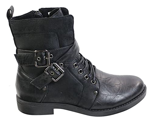 3b046f34669 Mens Punk Rock Goth Elmo Ankle Boots Brown Black Leather Buckle   Amazon.co.uk  Shoes   Bags