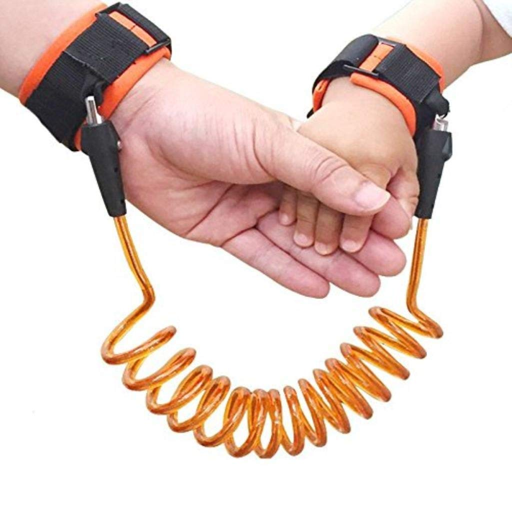 Anti Lost Safety Wrist Strap, Baby Harness and Reins for Toddlers Walking Security Lock Retractability Wrist Link Belt Set Blue Traveling Shopping Helper (Color : Orange, Size : 1.5 m)