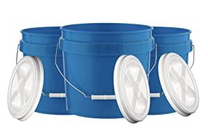 House Naturals 3.5 Gallon Food Grade Bucket Pail with Gamma Screw on Lid (Pack of 3) BPA Free containers -Made in USA