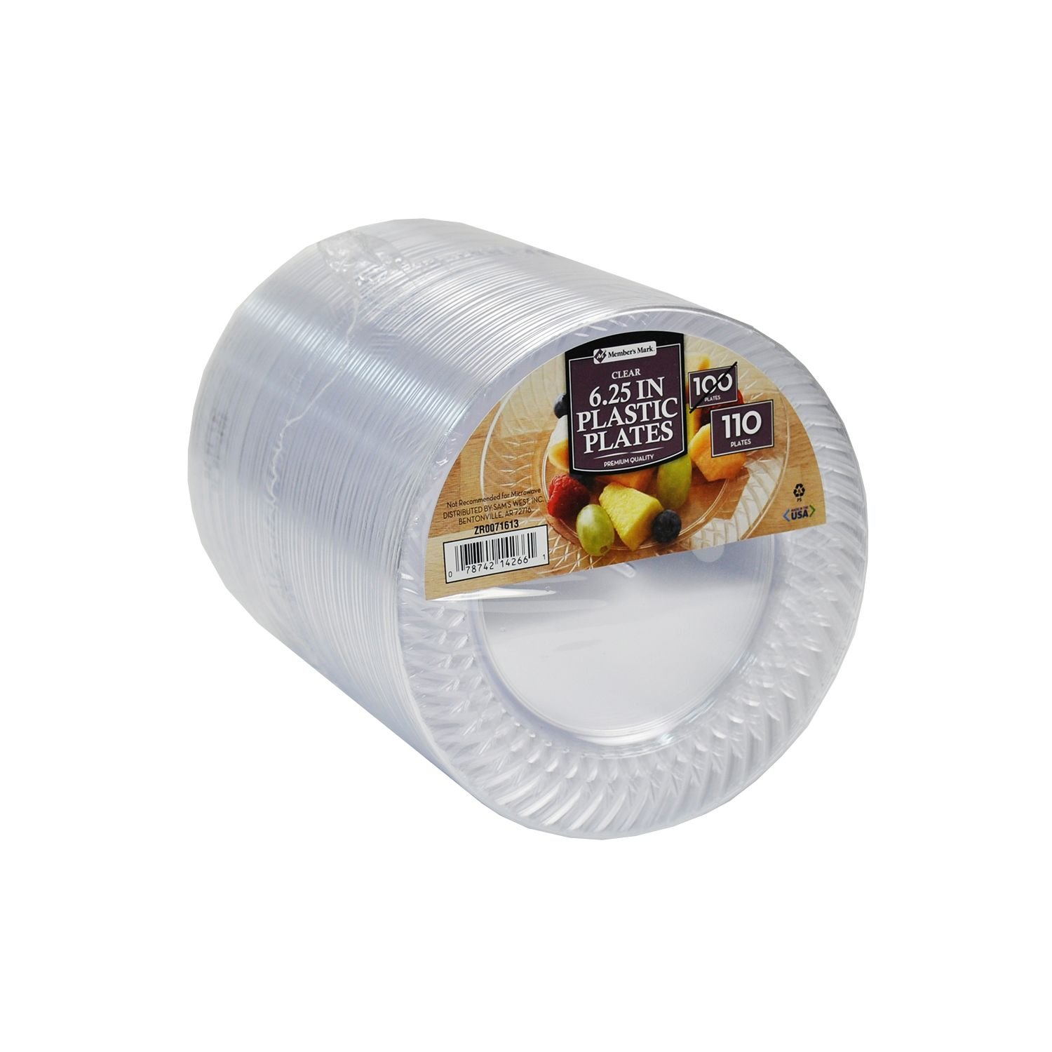 Members Mark Clear Plastic Plates, 6.25 Inch, 5Pack of 110 ct