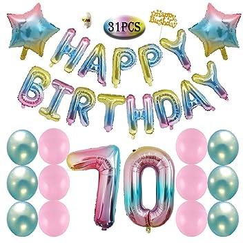 70th Birthday Decorations Gradient Happy Balloons Banner Pink Blue Latex Star Rainbow